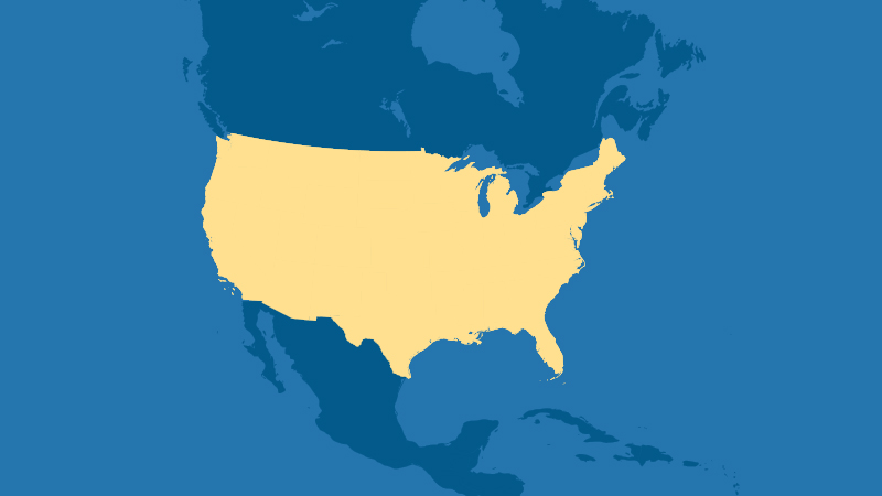 map highlighting the United States