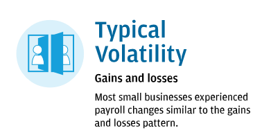 Typical Volatility: Gains and losses- Most small businesses experienced payroll changes similar to the gains and losses pattern.